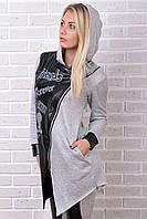 Брендовый гламурный батальный тёплый спортивный костюм Турция № 8825 серый