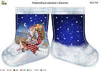 Схема для вышивки бисером новогодний сапожок Санта
