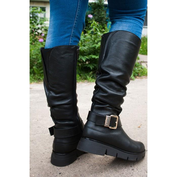 Жіночі шкіряні чоботи на широку гомілку, можливий відшиваючи у інших кольорах шкіри і замша