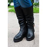 Жіночі шкіряні чоботи на широку гомілку, можливий відшиваючи у інших кольорах шкіри і замша, фото 2