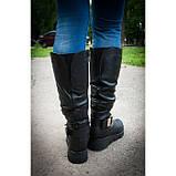 Жіночі шкіряні чоботи на широку гомілку, можливий відшиваючи у інших кольорах шкіри і замша, фото 3