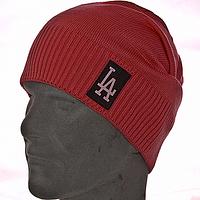 Мужская вязанная шапка чулок цвет коралловый