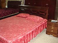 Кровать двуспальная из натурального дерева с резным изголовьем Тёмный орех