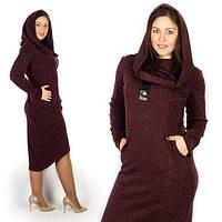 Теплое платье с капюшоном / ангора меланж / Украина, фото 1