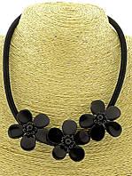Бусы из агата с цветами черные