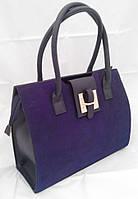 Каркасная сумка B.Elit, синяя, комбинированная замша