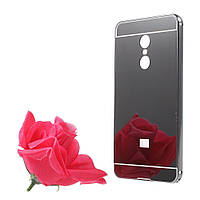 Чехол бампер для Xiaomi Redmi Note 4 металлический со съемной зеркальной крышкой, черный