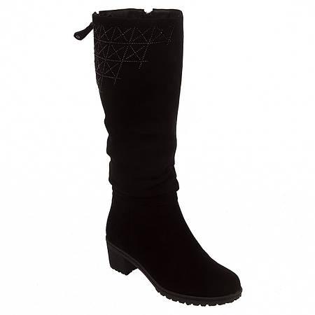 Сапоги женские Lady Marcia (замшевые, зимние, на удобном каблуке, с черными  стразами на голенище) 372fb4dbc15