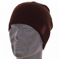 Мужская вязанная шапка чулок без флиса цвет коричневый