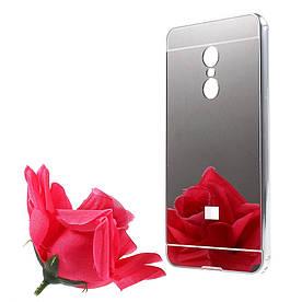 Чехол бампер для Xiaomi Redmi Note 4 металлический со съемной зеркальной крышкой, серебристый
