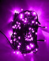 Гирлянда светодиодная 300 led фиолетовая (черный провод)