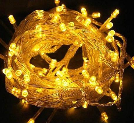 Гирлянда светодиодная 100 led Желтая (желтый провод), фото 2