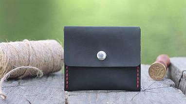 Кожаная черная монетница ручной работы VOILE vl-cn2-blk-red, фото 2