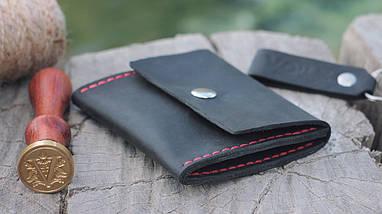 Кожаная черная монетница ручной работы VOILE vl-cn2-blk-red, фото 3
