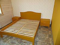 Кровать двуспальная из массива ясеня с глухим изголовьем