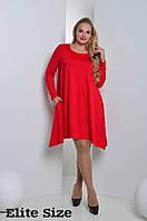 Свободное красное платье большого размера l-5415950