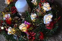 """Рождественский венок """"Волшебные  розы"""""""