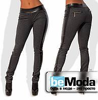 Облегающие женские леггинсы из качественной стрейч-шерсти со вставками экокожи и блестящими молниями на карманчиках серые