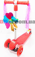Самокат детский Scooter micro Tri PU + ветряк + дождик + широкое заднее колесо Красный