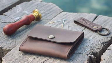 Кожаная коричневая монетница ручной работы VOILE vl-cn2-brn, фото 2