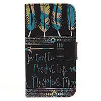 Чехол книжка для LG K4 K130E боковой с отсеком для визиток, Цветные перья