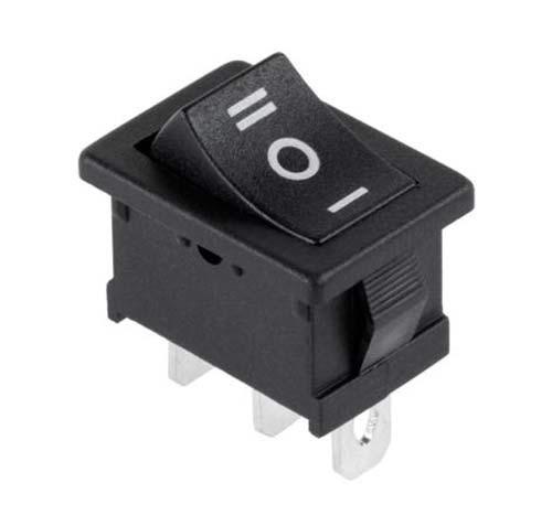 Кнопка-переключатель узкая 3пол. 3конт. черная