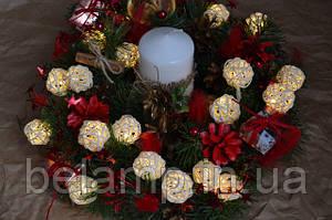 Новогодние и рождественские веночки с гирляндой: купить такие вы можете только у нас! Новинка!