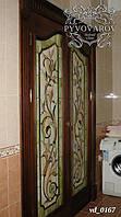 Витраж в распашные двери в ванную комнату