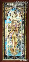 Картина Альфонса Мухи из кусочков цветного стекла