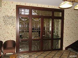 Комплект витражей Тиффани в распашные двери перегородки и люнет