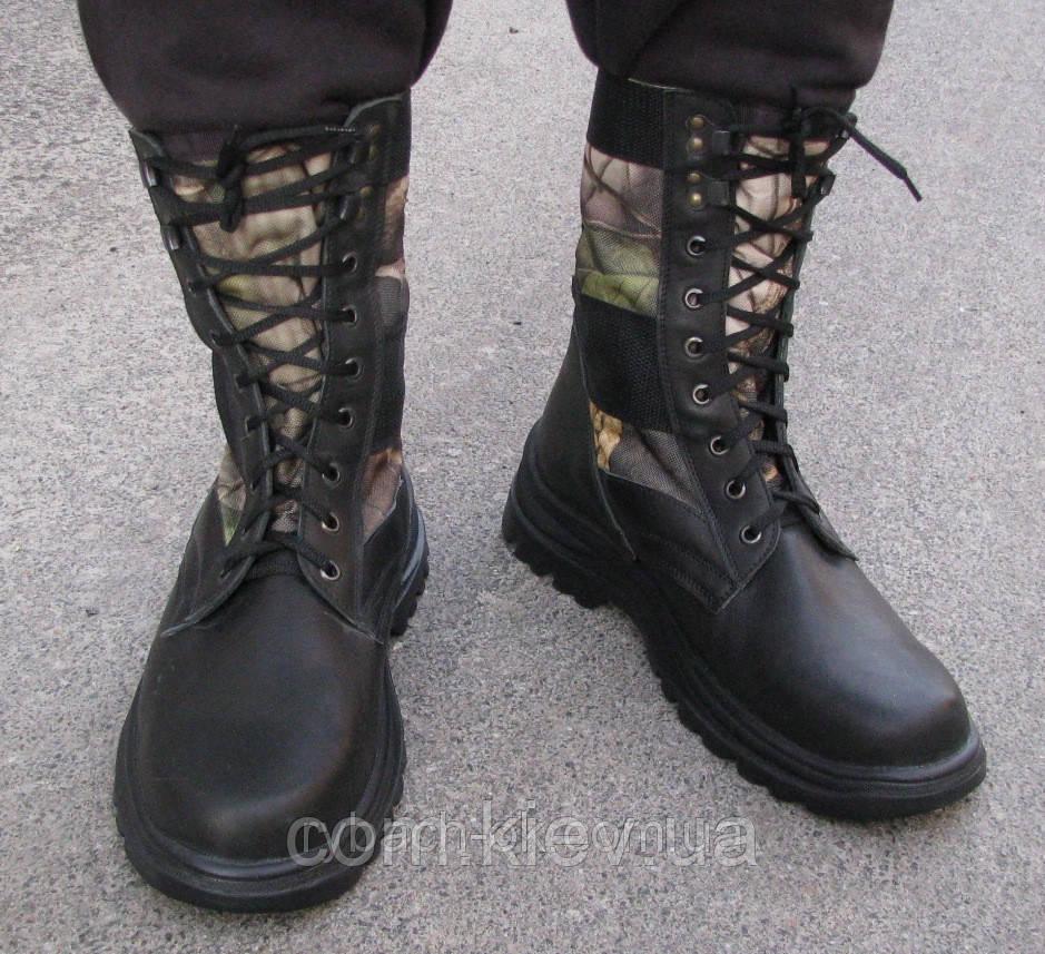Ботинки-берцы комбинированные на легкой подошве, фото 1
