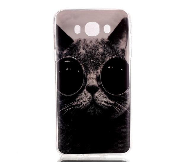 Эксклюзивный силиконовый чехол для Samsung J710 Galaxy J7 2016 с рисунком - Кот в черных очках