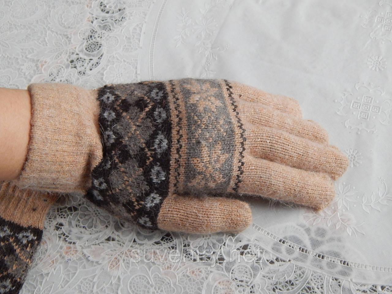 Женские теплые ангоровые перчатки