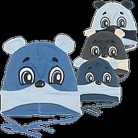 Детская трикотажная шапочка с завязками, ТМ Аника р.44-46