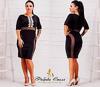 Платье женское черное с кружевом батал