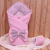 """Зимний конверт-одеяло с шапочкой  """"Винтаж"""" розовый"""