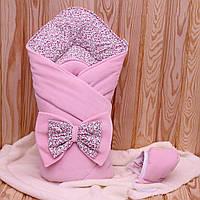 "Зимний конверт-одеяло с шапочкой  ""Винтаж"" розовый, фото 1"