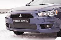 Зимняя заглушка решетки переднего бампера Mitsubishi Lancer X 2007-2010 г.в. Митсубиси Лансер Х