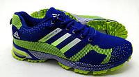 Беговые кроссовки адидас Marathon 15 сине-салатовые