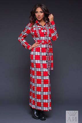 А1267 Платье длинное в клетку, фото 2