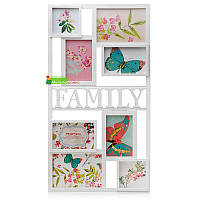 Большая прямоугольная мультирамка на 8 фотографий разного размера со словом «FAMILY» (Семья) , белая