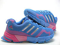 Кроссовки для бега женские Adidas Marathon голубые с розовым