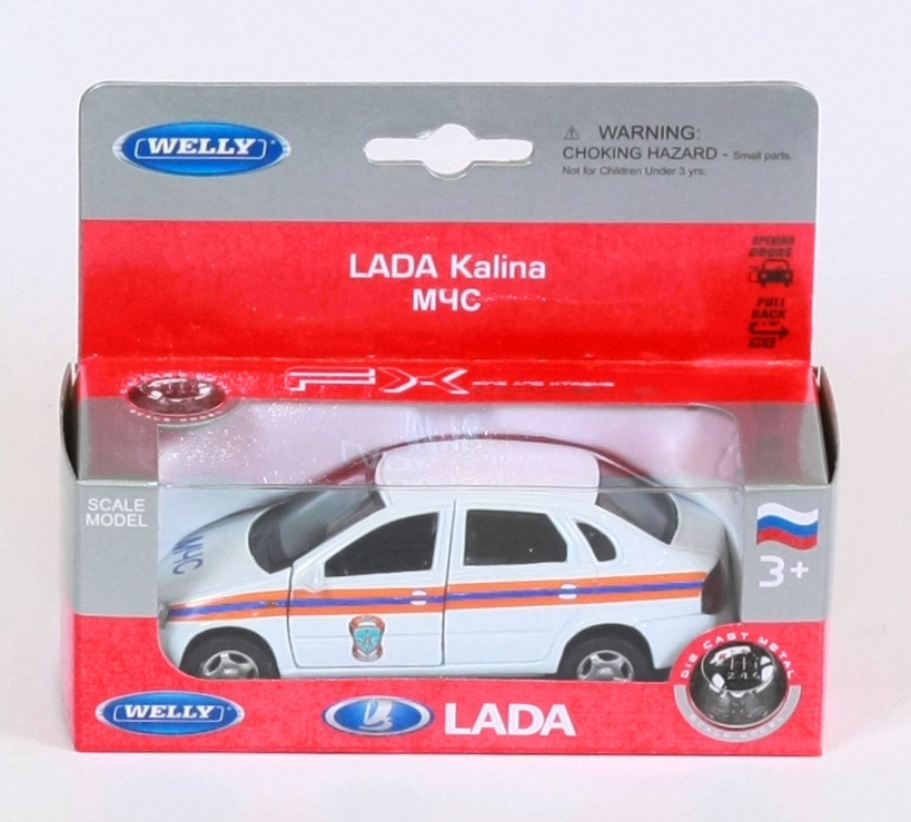 Модель машинки LADA KALINA МЧС (инерционная), ТМ Welly, 42383RE-W