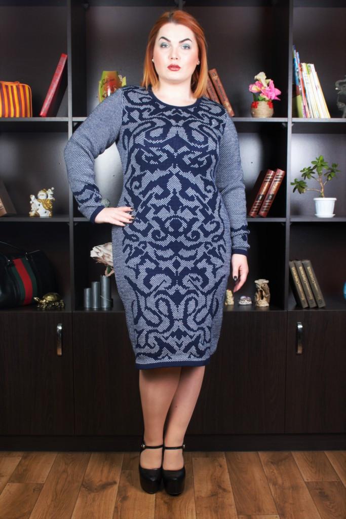 Плетене синє плаття Sofi р 58-60