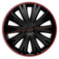 Автомобильные колпаки на колеса ARGO ГИГА (GIGA) черные  с красным ободом R13