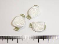 Розочка атласные белые с листиком 10 шт