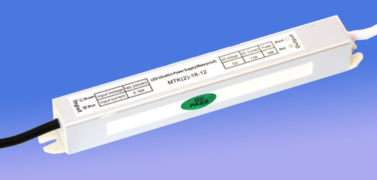 Блок питания герметичный для светодиодной ленты 12в 1,5А 18вт LEDLIGHT IP65 SLIM