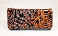 Кожаный кошелек женский 164 коричневый лаковый, рептилия