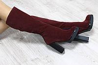 Зимние натуральные замшевые сапоги с молнией по всей длине на удобном каблуке цвета марсалы