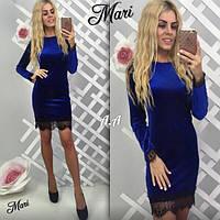 Платье мини дорогой Бархат турецкое кружево Черный цвет